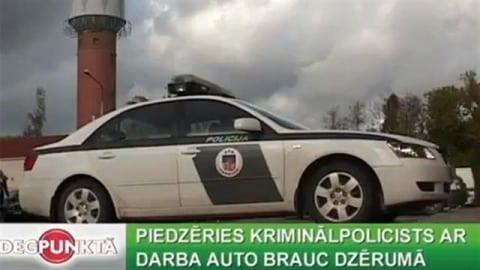 piedzeries kriminalpolicists ar darba auto brauc dzeruma