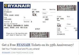 «Ryanair» brīdina par viltus bezmaksas biļešu izlozi