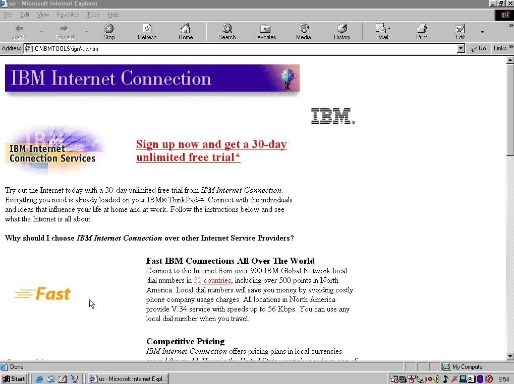 IBM Internet Connection page